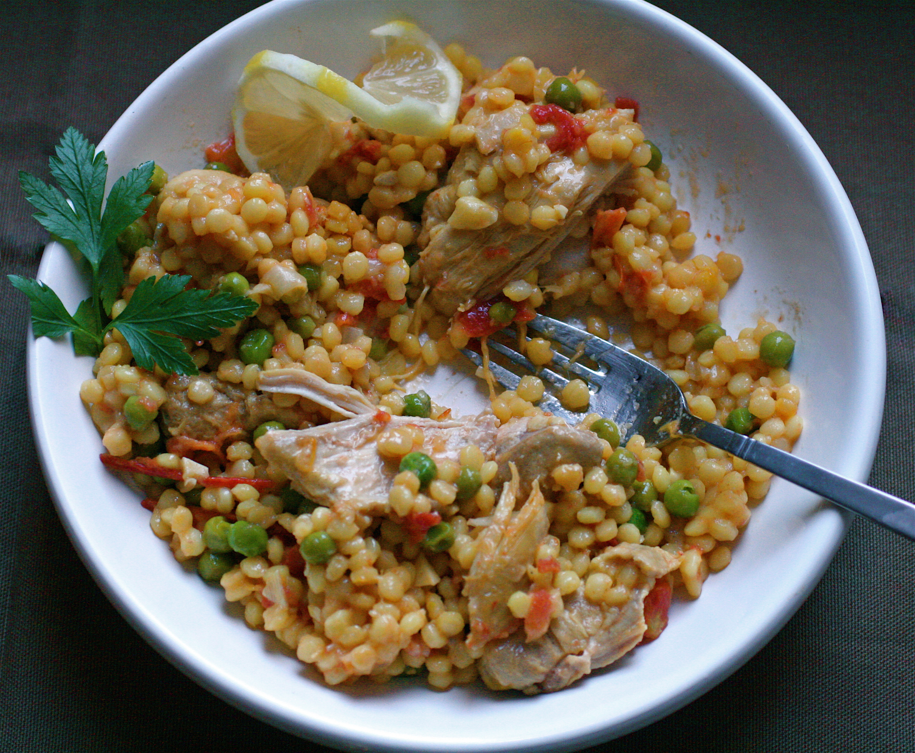 The Bitten Word Chicken And Israeli Couscous With Tomato And Lemon