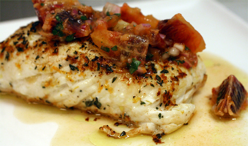 The Bitten Word: Sear-Roasted Halibut with Blood Orange Salsa