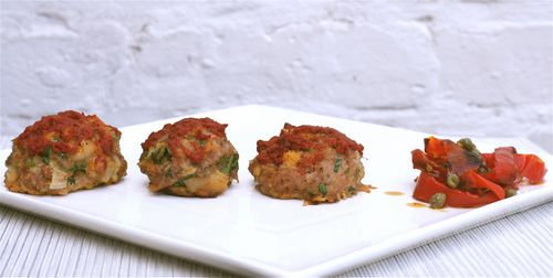The Bitten Word: Baked Chicken Meatballs with Peperonata